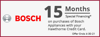 15 Months Special Financing on Bosch Appliances